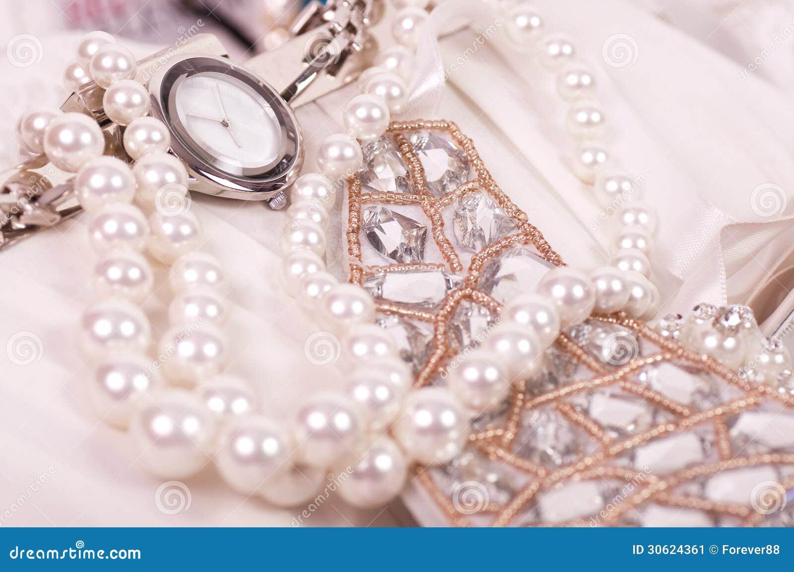 Beautiful Jewelry And Clock Stock Image Image 30624361