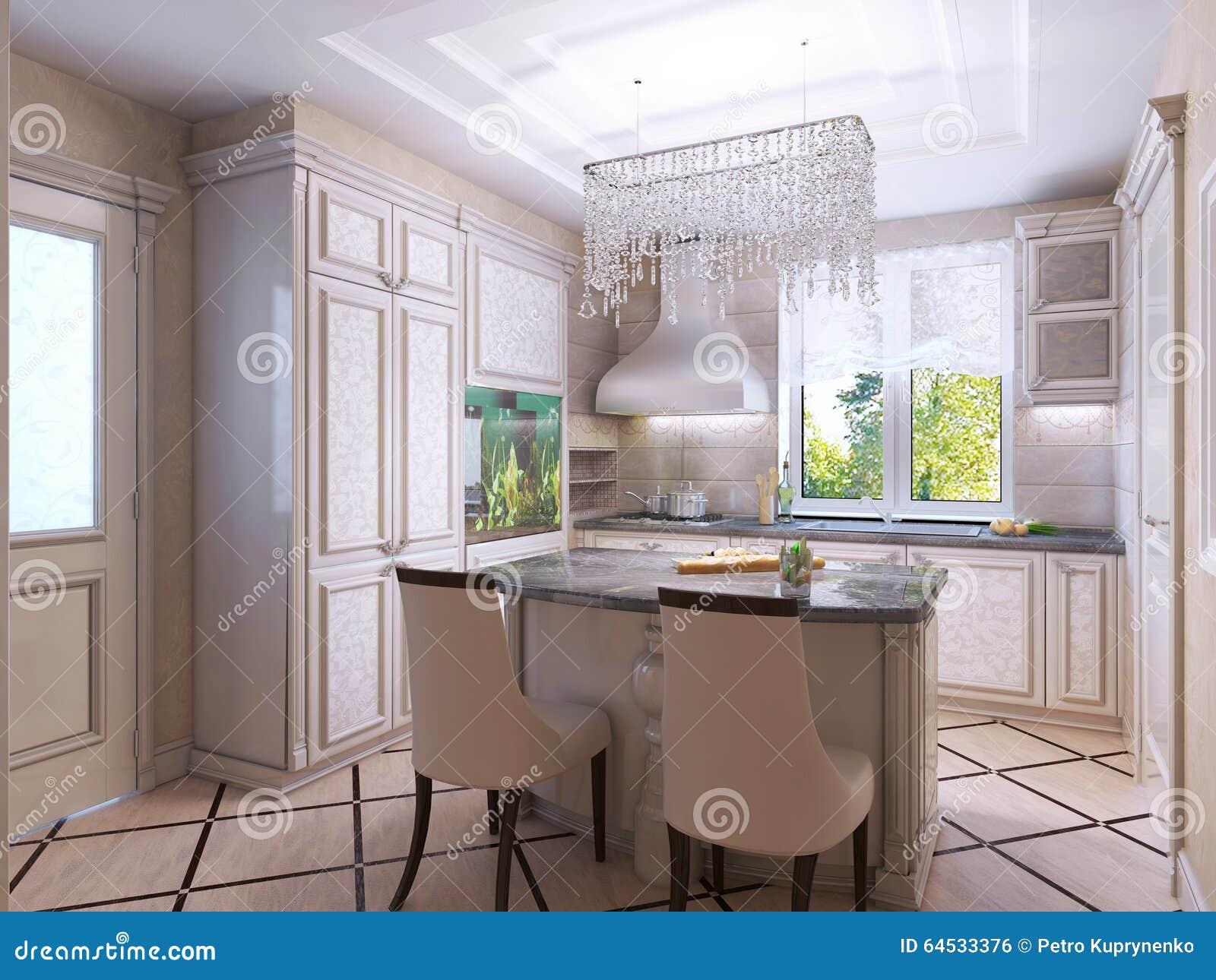 Beautiful Kitchen Art Deco Style Stock Photo Image Of Modern Ecru 64533376