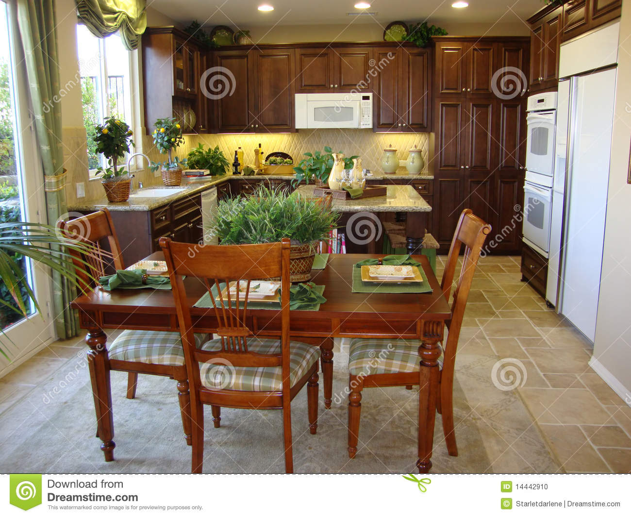 Beautiful kitchen and dining room stock photo image for Photos of beautiful dining rooms