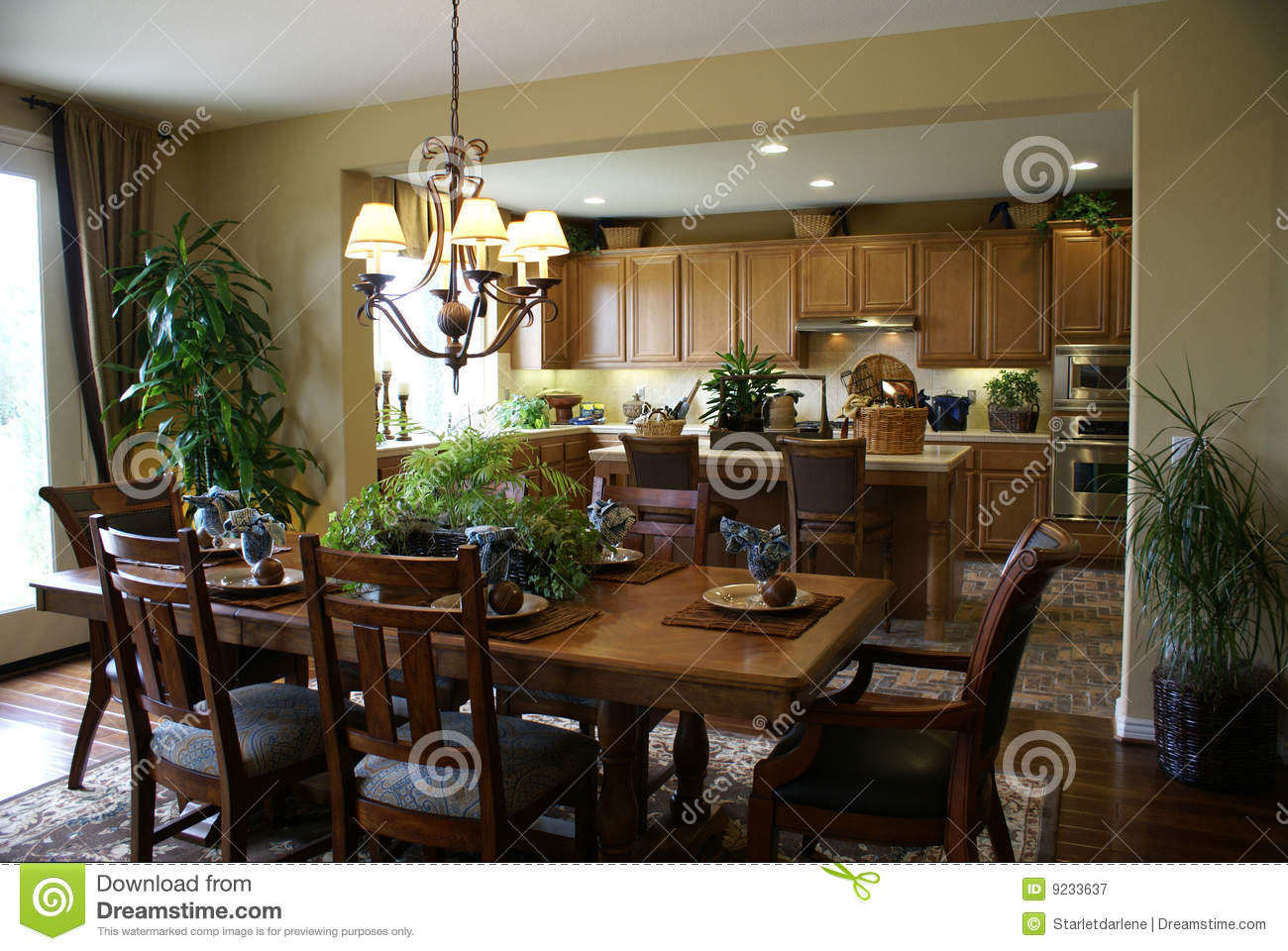 Beautiful kitchen and dining room royalty free stock for Dining room kitchen