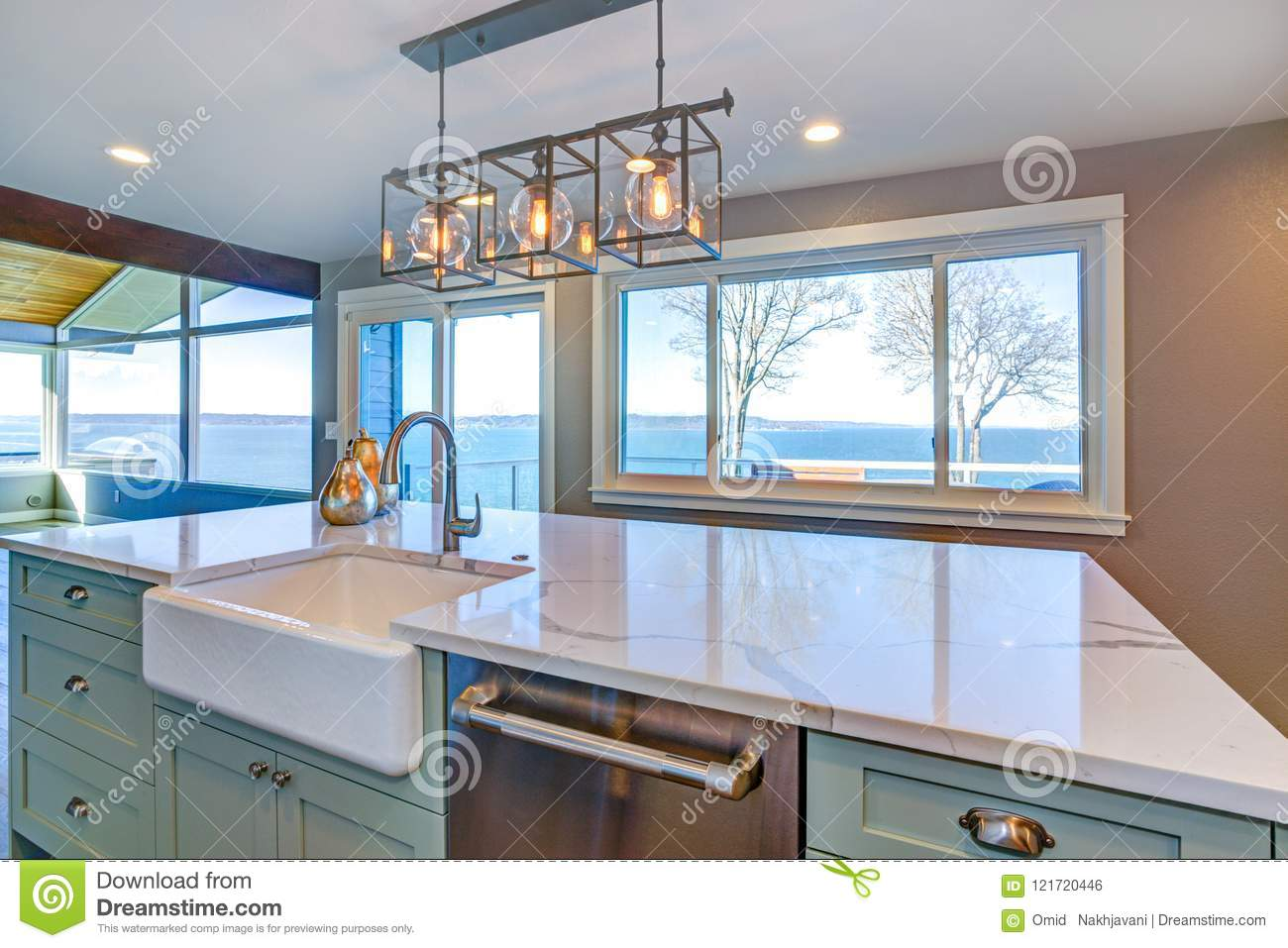 Beautiful Kitchen With Green Island And Farm Sink. Stock Photo ...