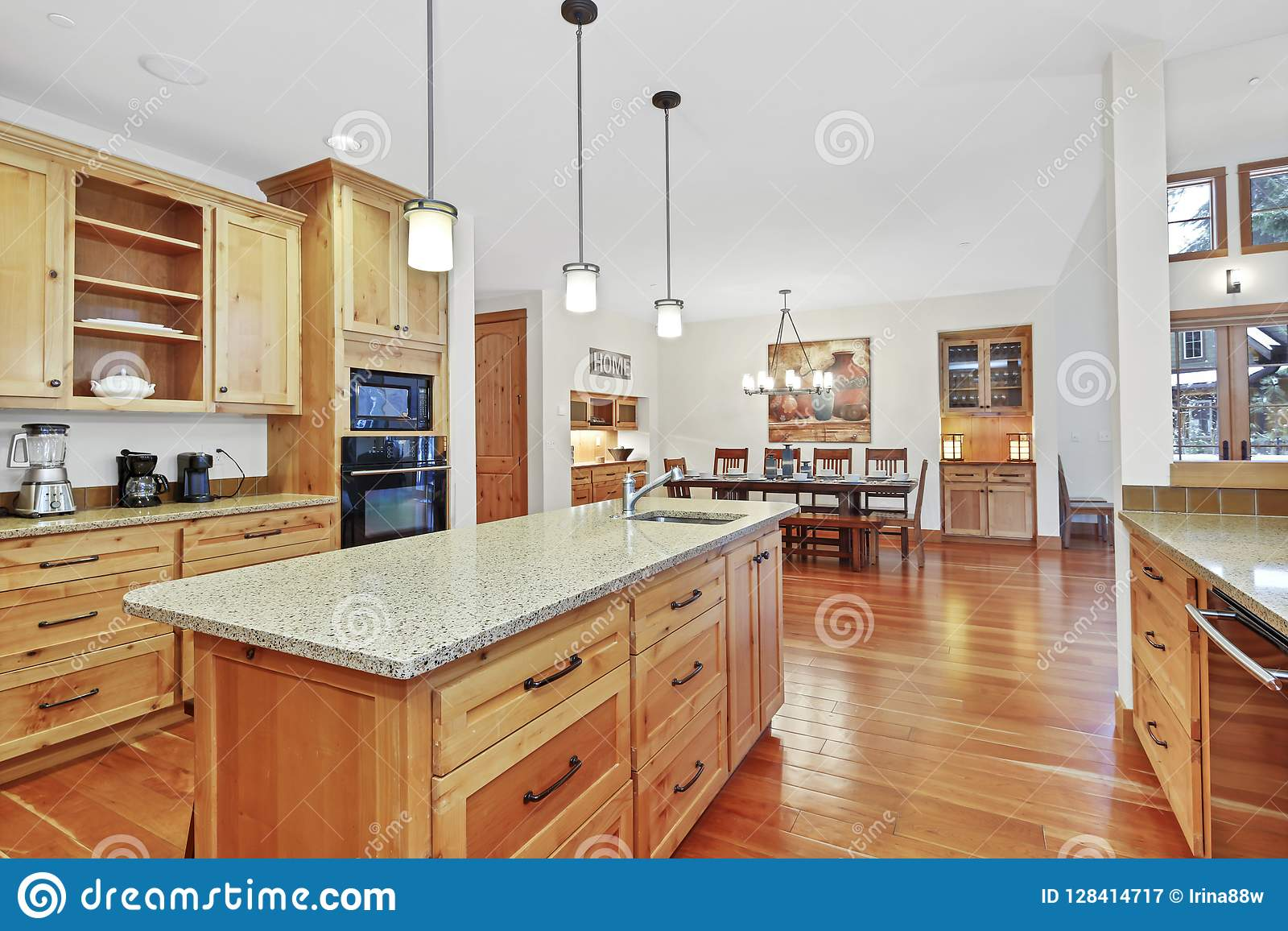 Image of: Beautiful Kitchen With Light Wood Cabinets Stock Image Image Of Ceiling Architecture 128414717