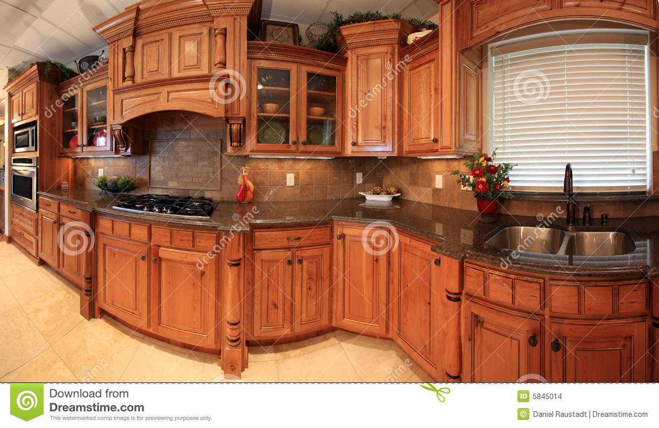 Beautiful kitchen panorama stock images image 5845014 for Beautiful kitchen cabinets