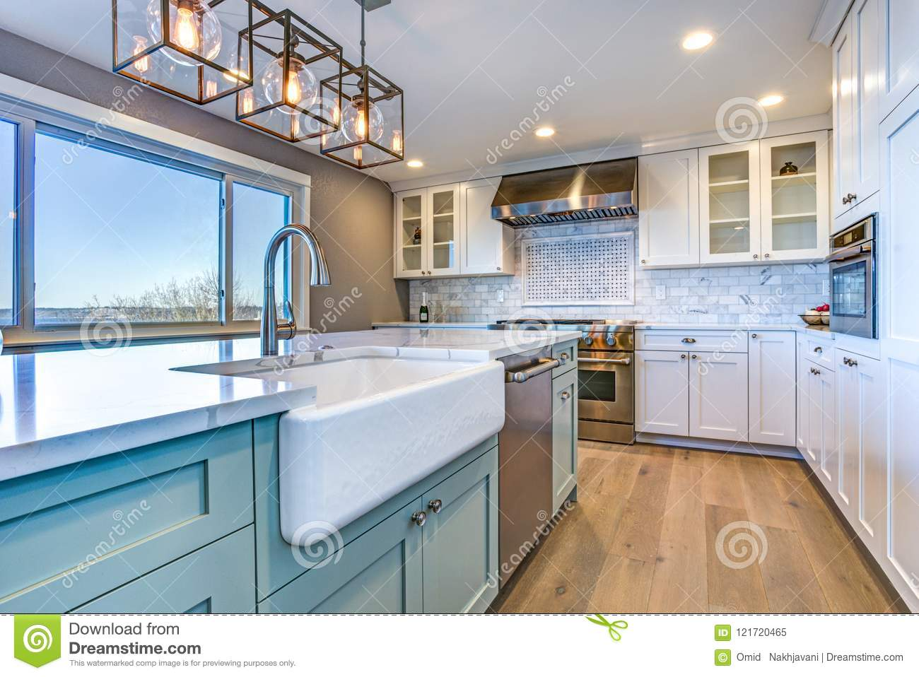 Beautiful Kitchen Room With Green Island And Farm Sink ... on Luxury Farmhouse Kitchen  id=97357