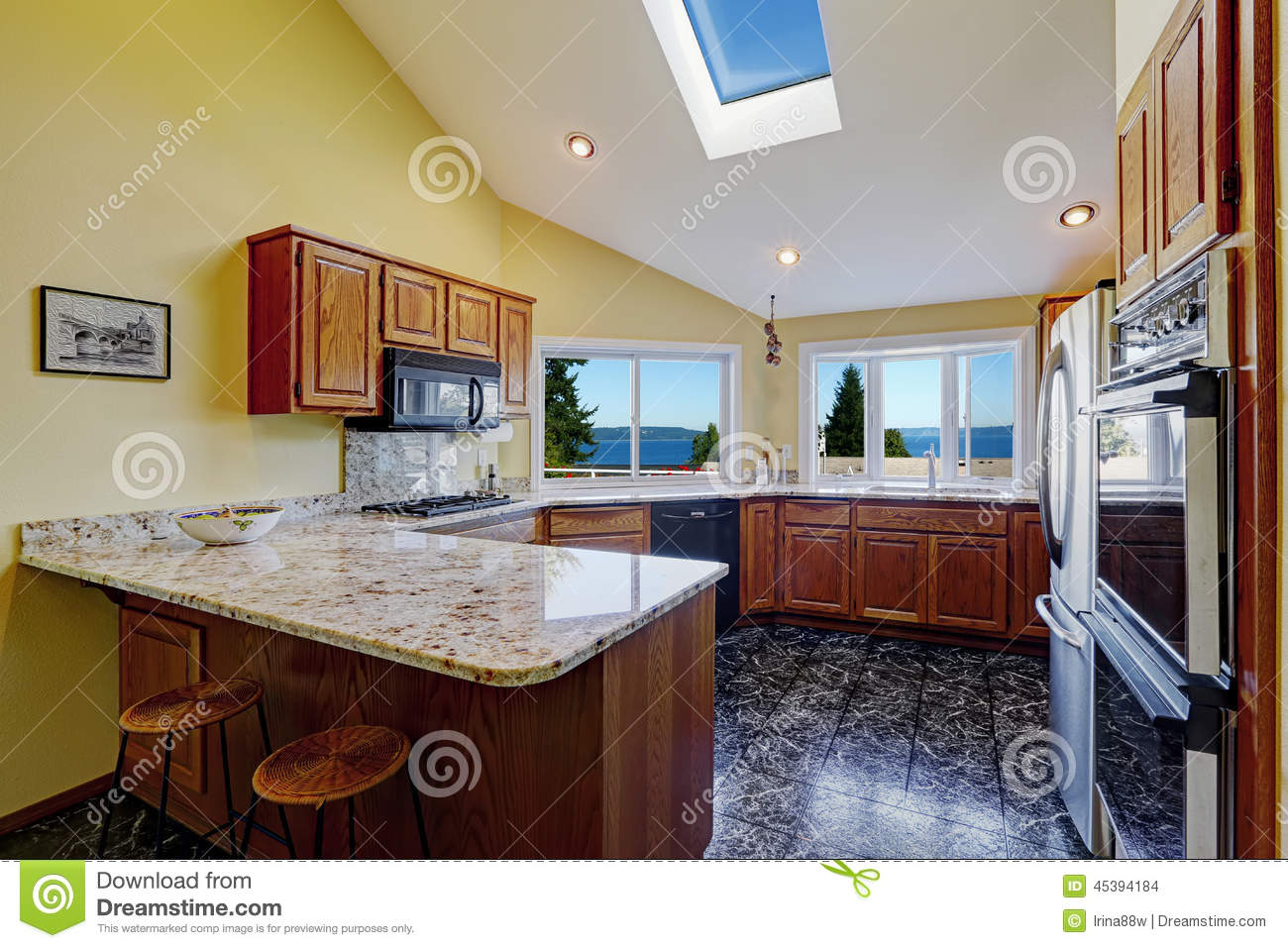 Beautiful kitchen room with skylight granite tile floor stock photo image 45394184 - Amazing beautiful kitchen rooms ...