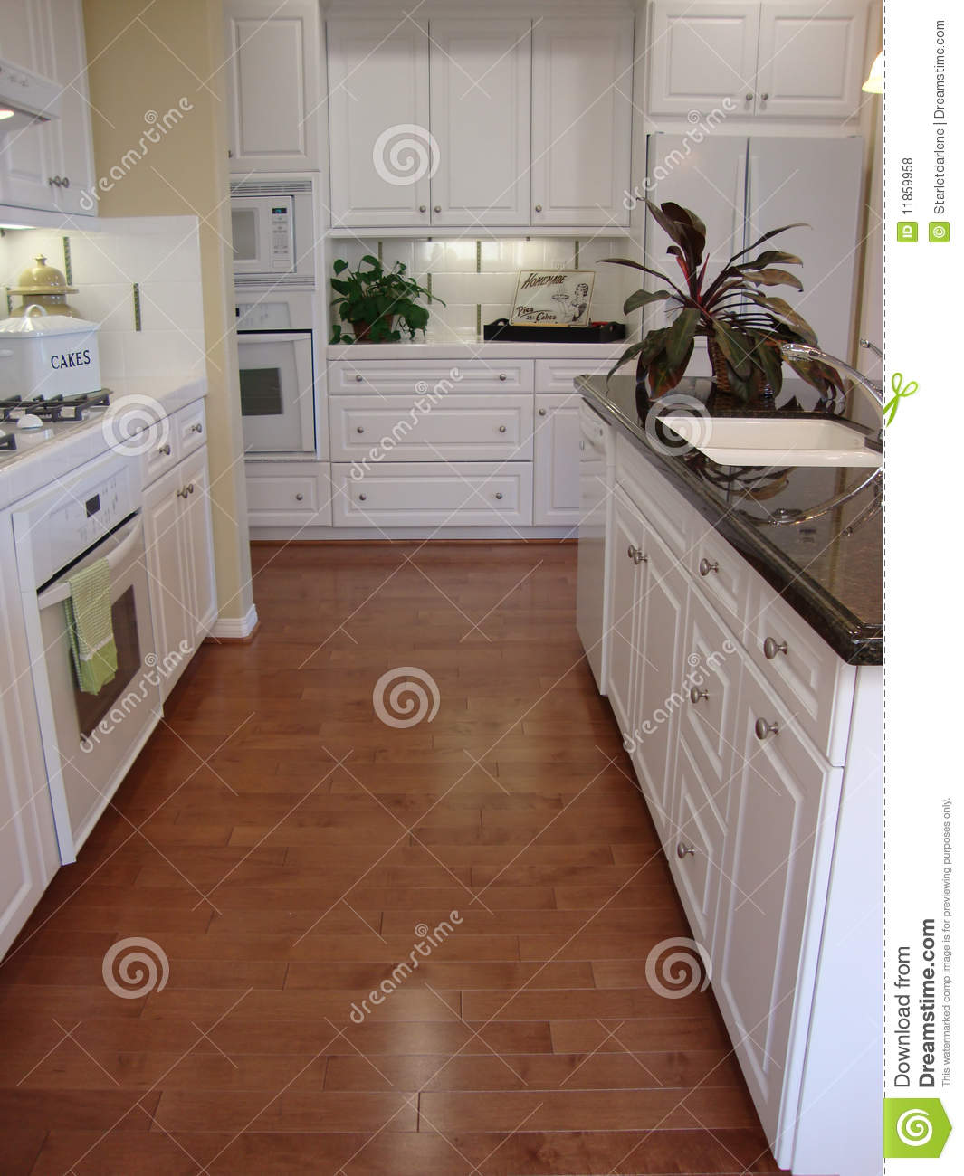 Beautiful kitchen with wood floors stock photo image - Encimera de madera maciza ...