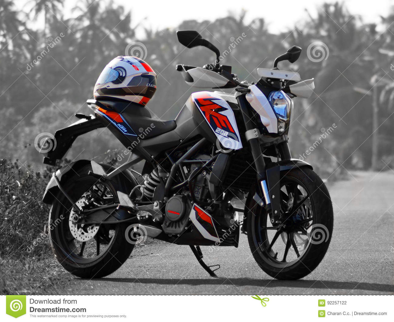 And beautiful ktm duke 200 black and white and orange