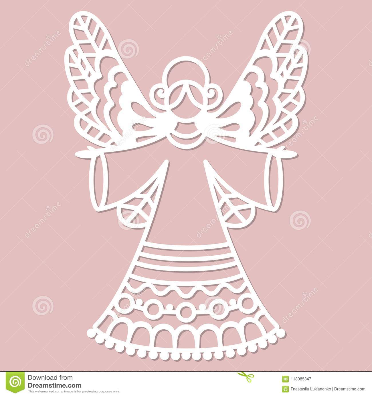 Beautiful Lace Angel For Laser Cutting