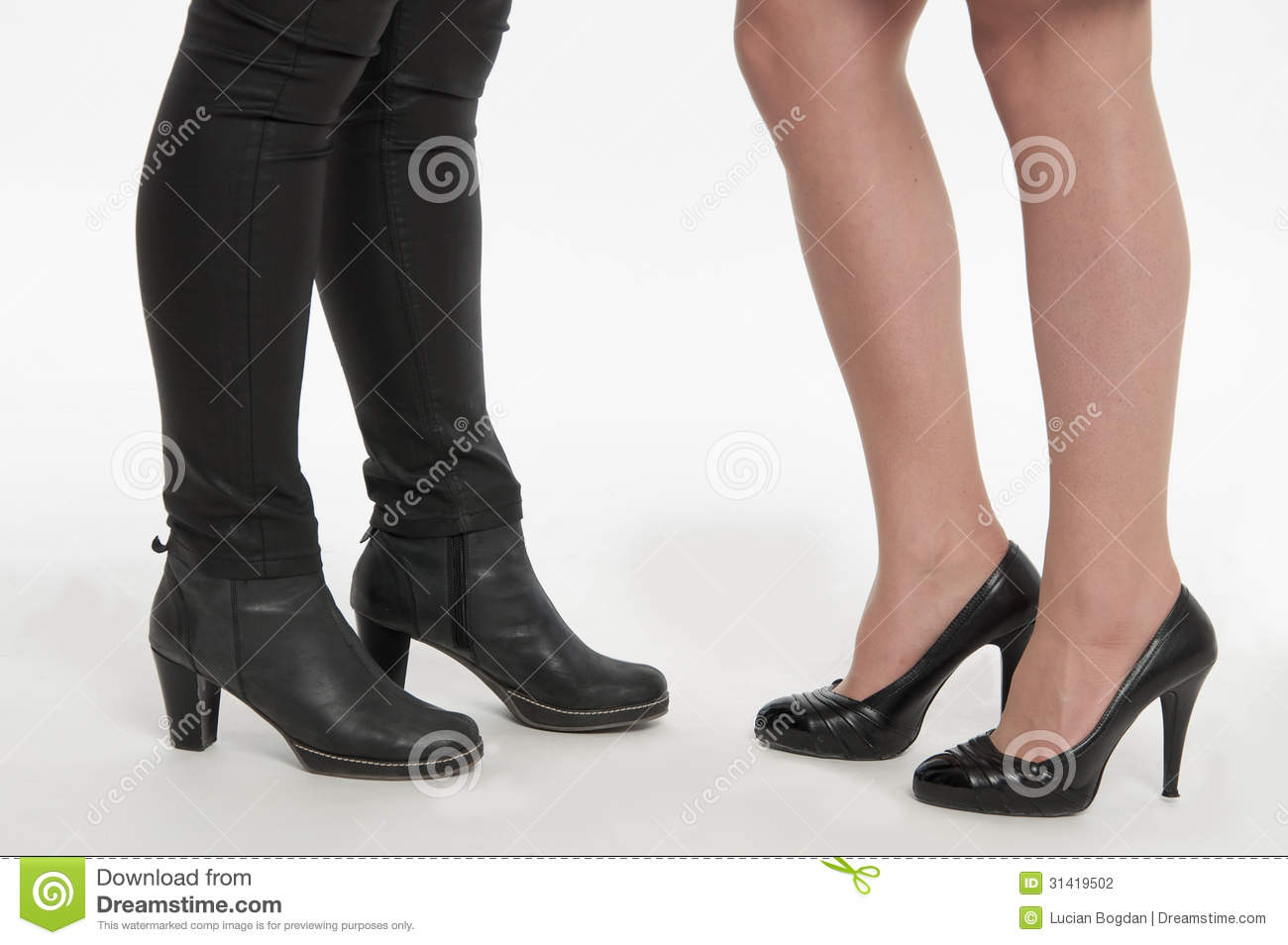 beautiful ladies footwear boots and pumps stock photography