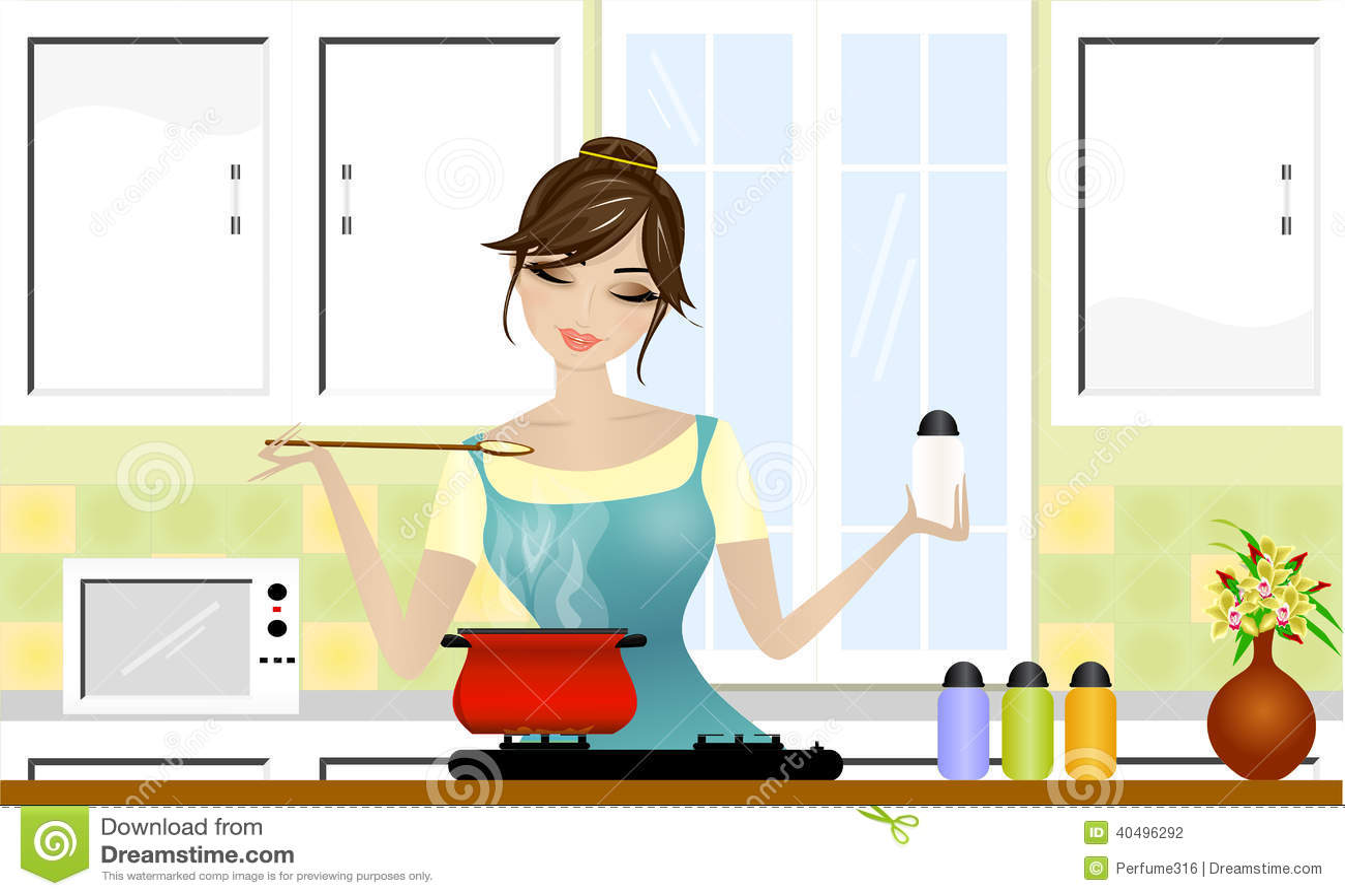 Beautiful Lady Cooking Stock Illustration Image 40496292