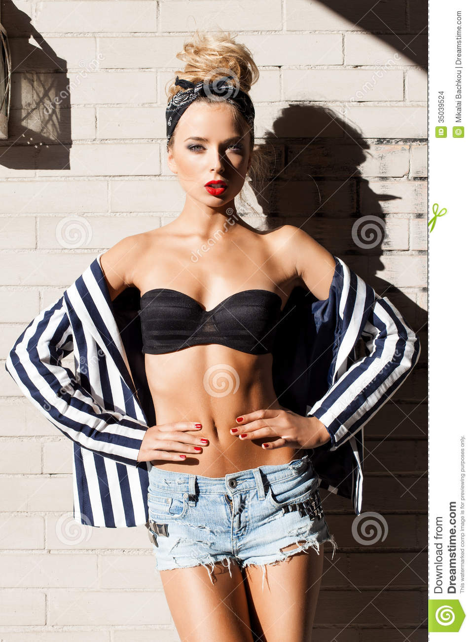 Beautiful Lady In Fashion Style Posing Against White Brick Wall Stock Photo Image 35039524
