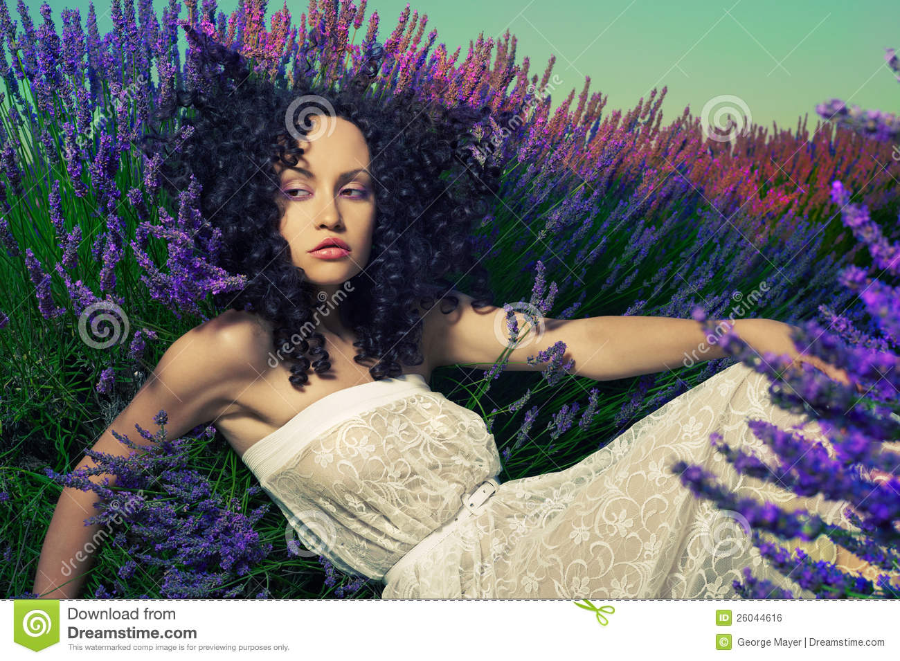 Beautiful lady in lavender