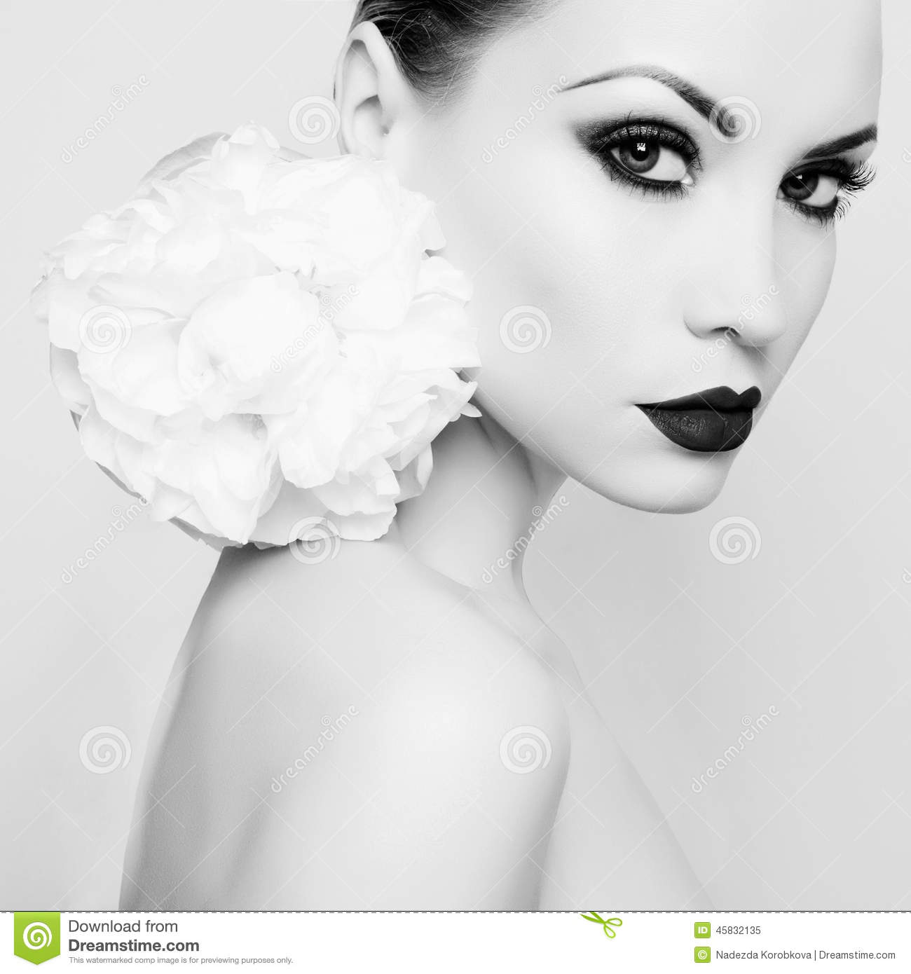 Beautiful lady with peony
