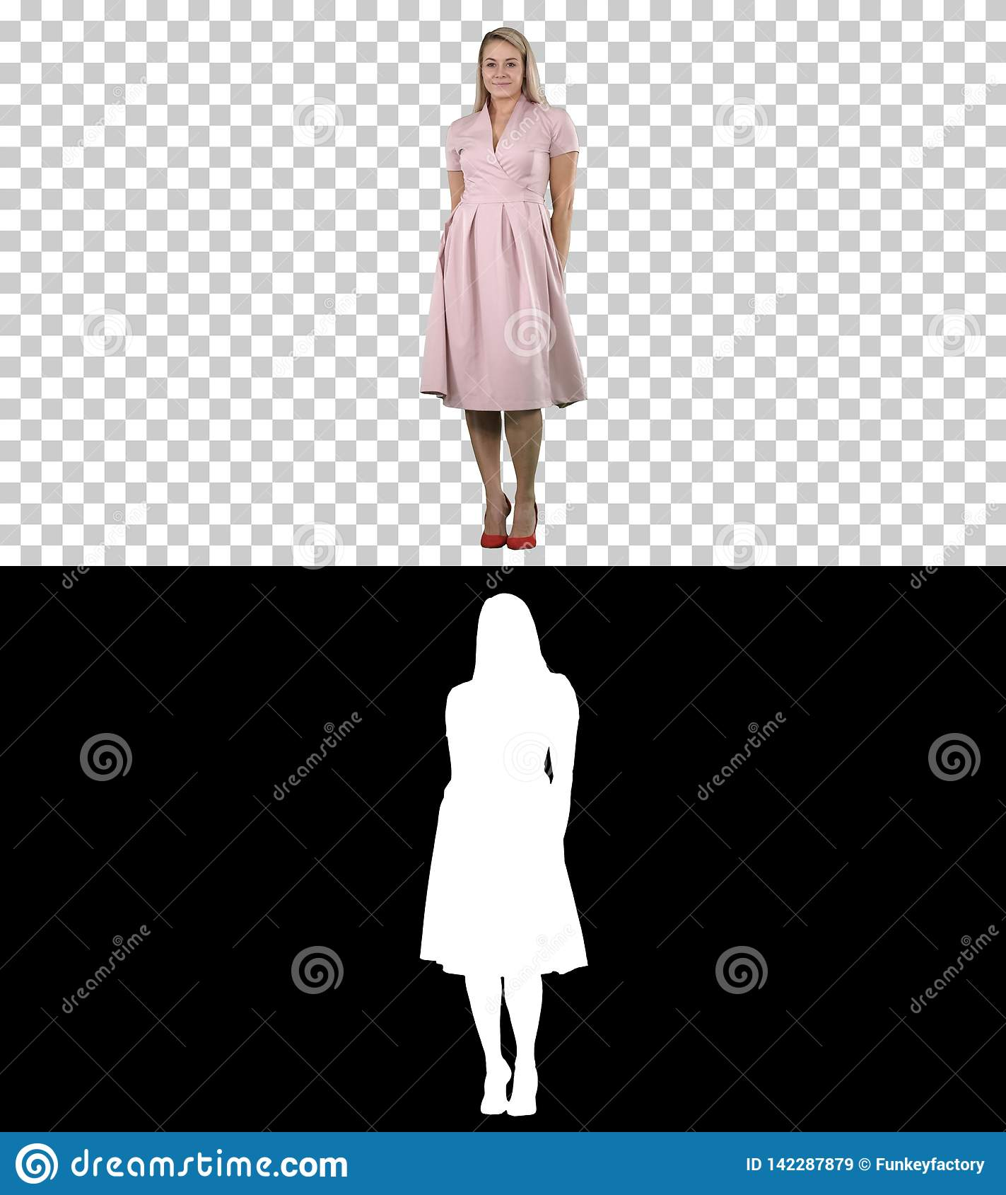 Beautiful lady in pink dress preen, Alpha Channel