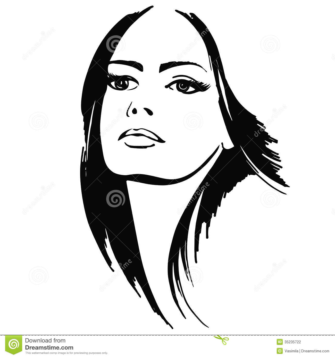 Line Drawing Lady : Beautiful lady stock vector illustration of dark model