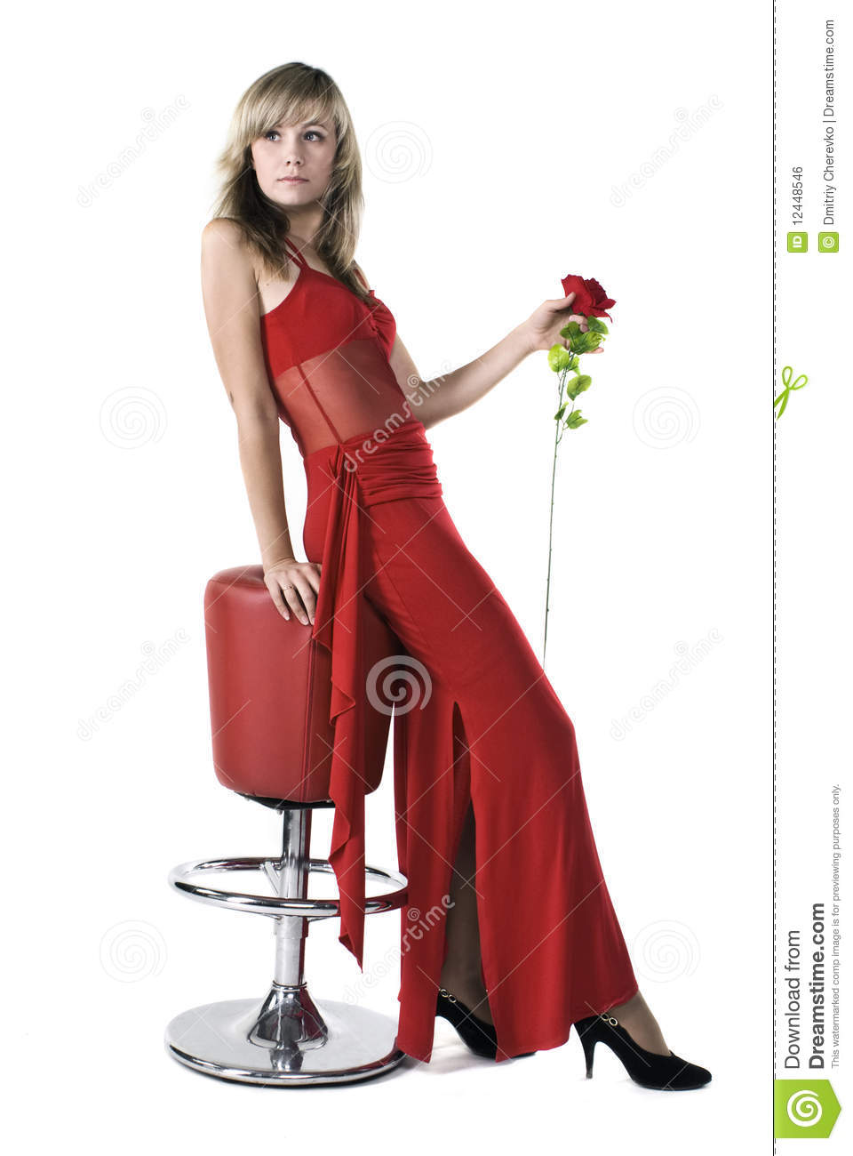 beautiful lady in red dress stock photo image of indoor lady 12448546. Black Bedroom Furniture Sets. Home Design Ideas