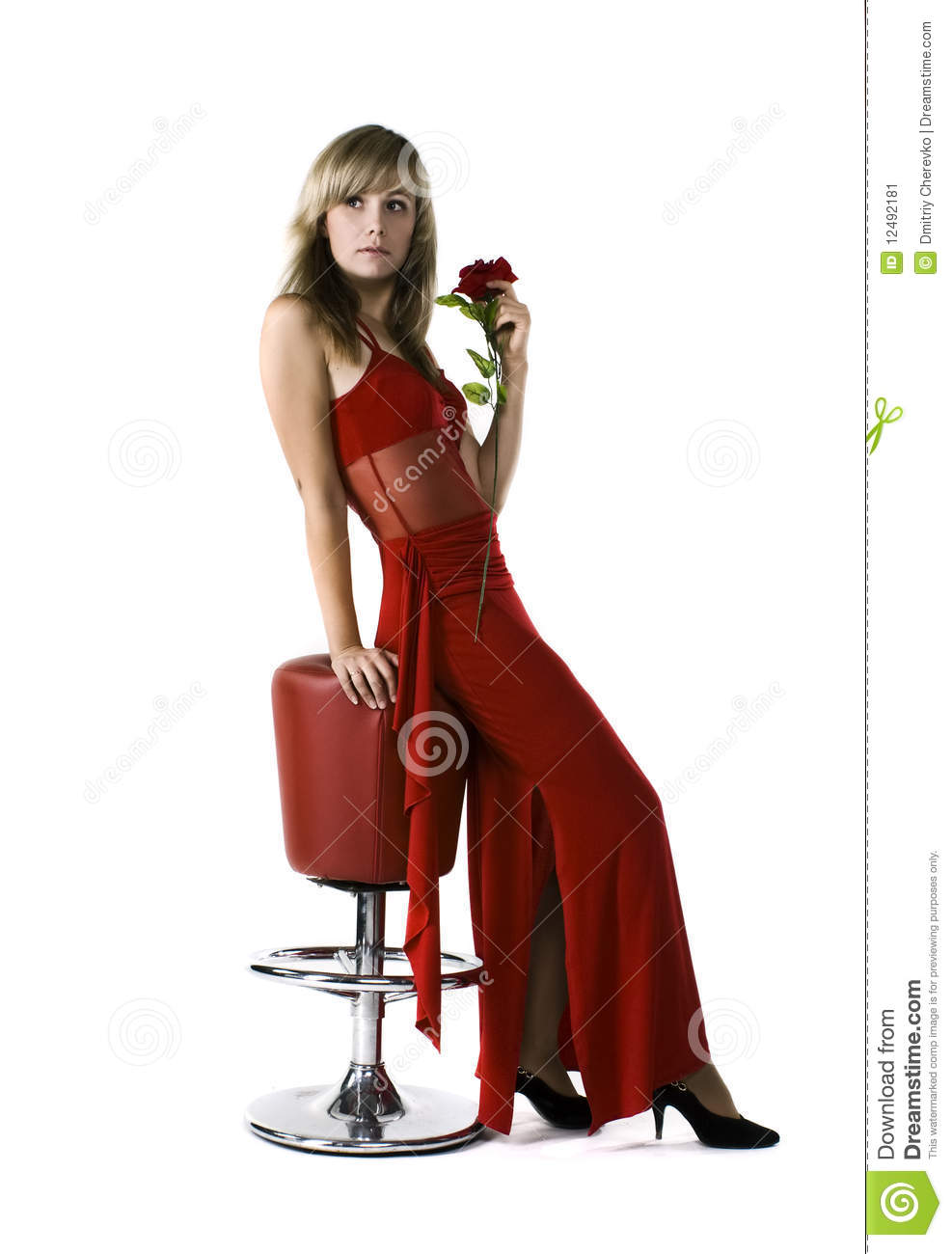 beautiful lady in red dress stock image image 12492181. Black Bedroom Furniture Sets. Home Design Ideas