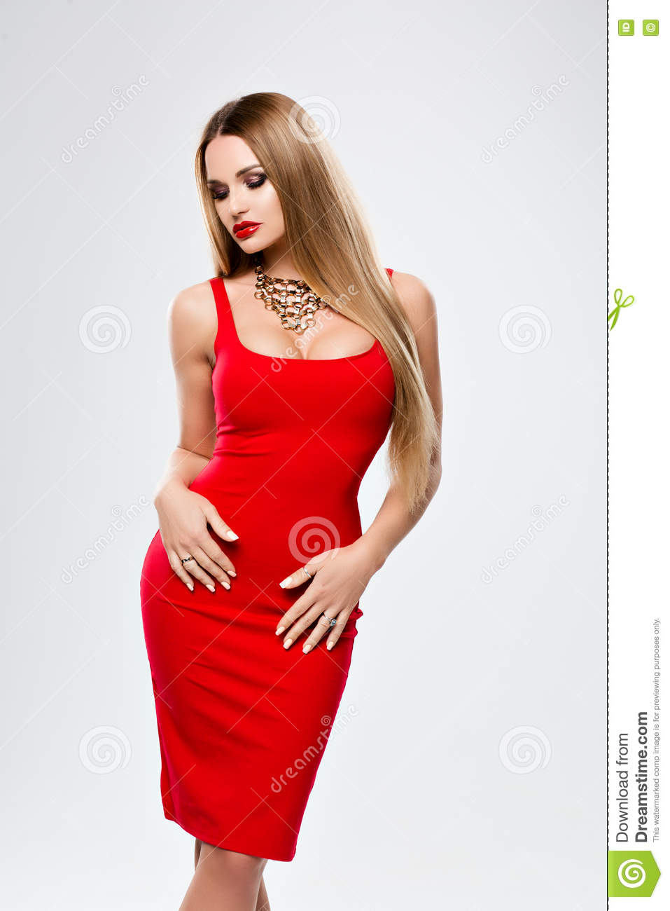 beautiful lady in red dress with bright makeup red lips gorgeous bust a young woman with long. Black Bedroom Furniture Sets. Home Design Ideas