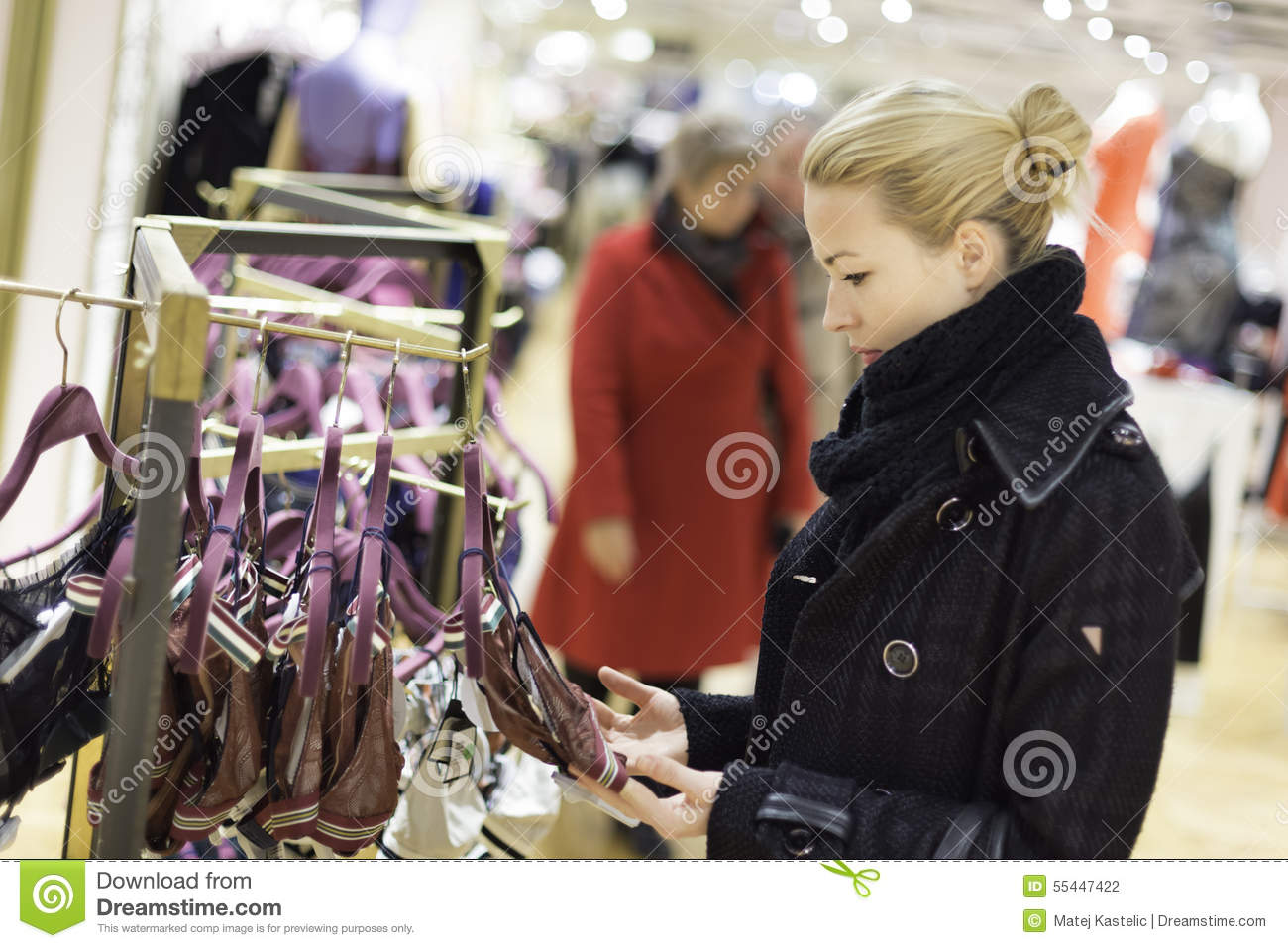 Beautiful Lady Shopping In Lingerie Store. Stock Photo - Image ...