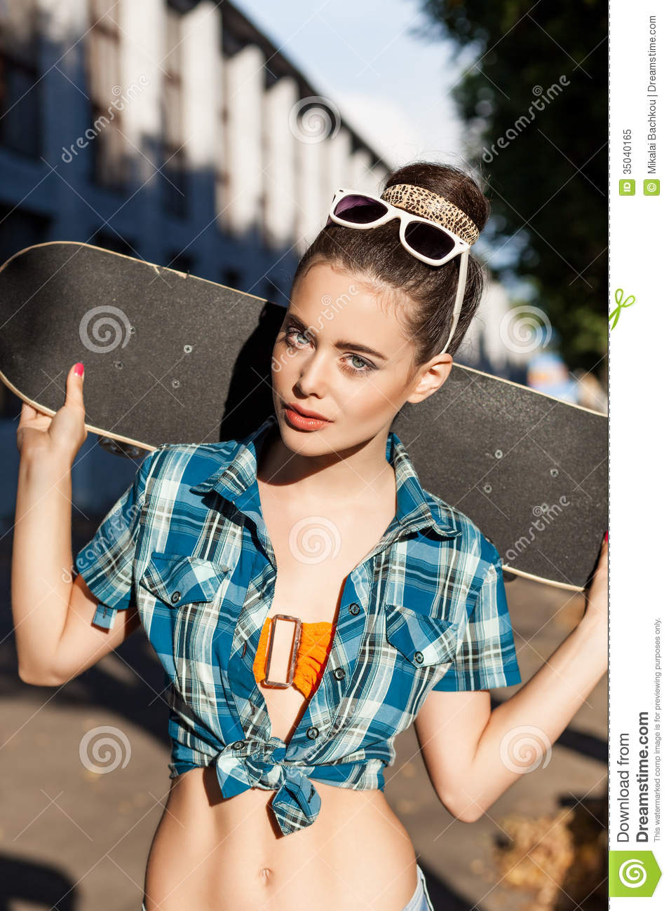 Beautiful lady with skateboard in the city stock image for This guy has an awesome girlfriend shirt