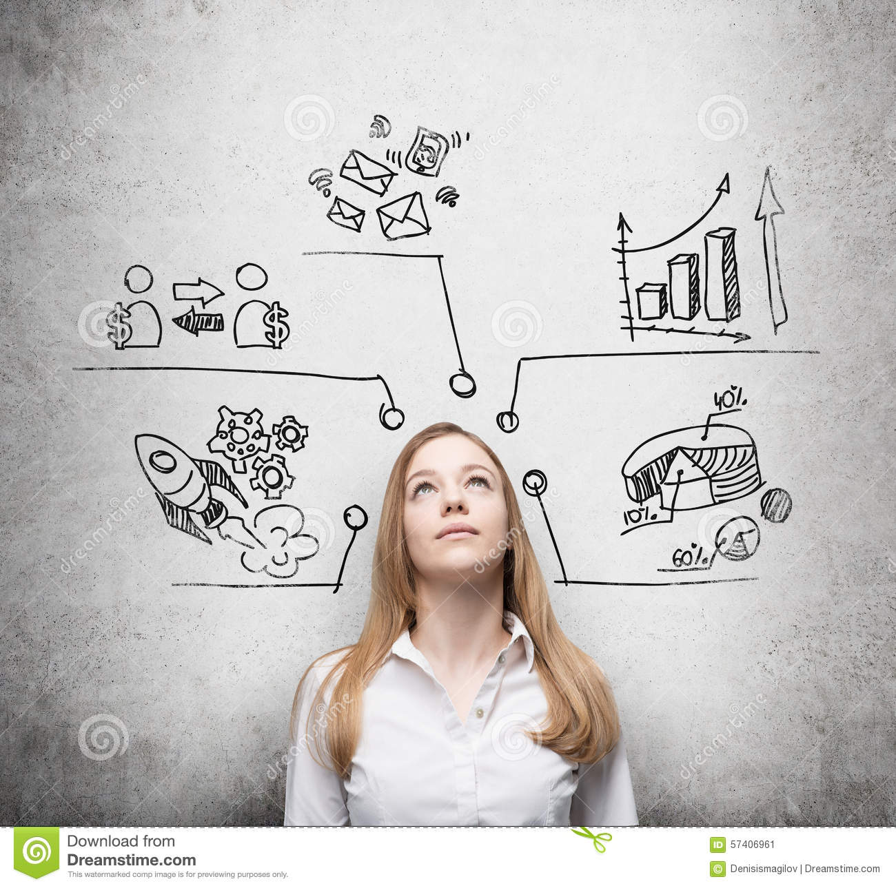 Beautiful lady is thinking about business development measures beautiful lady is thinking about business development measures charts pie chart business icons are drawn on the concre nvjuhfo Image collections