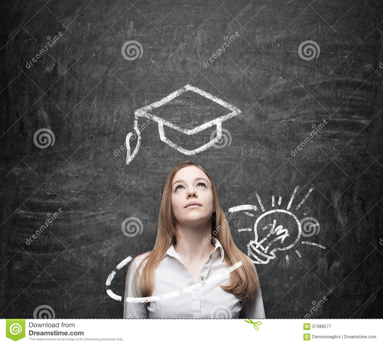 Download Beautiful Lady Is Thinking About Education. A Graduation Hat And A Light Bulb Are Drawn On The Chalkboard Above The Lady. Stock Image - Image of beauty, businesswoman: 57988577