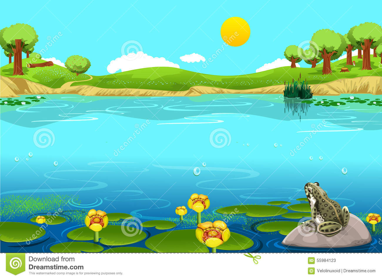 Beautiful Lake Landscape With Frog Stock Illustration