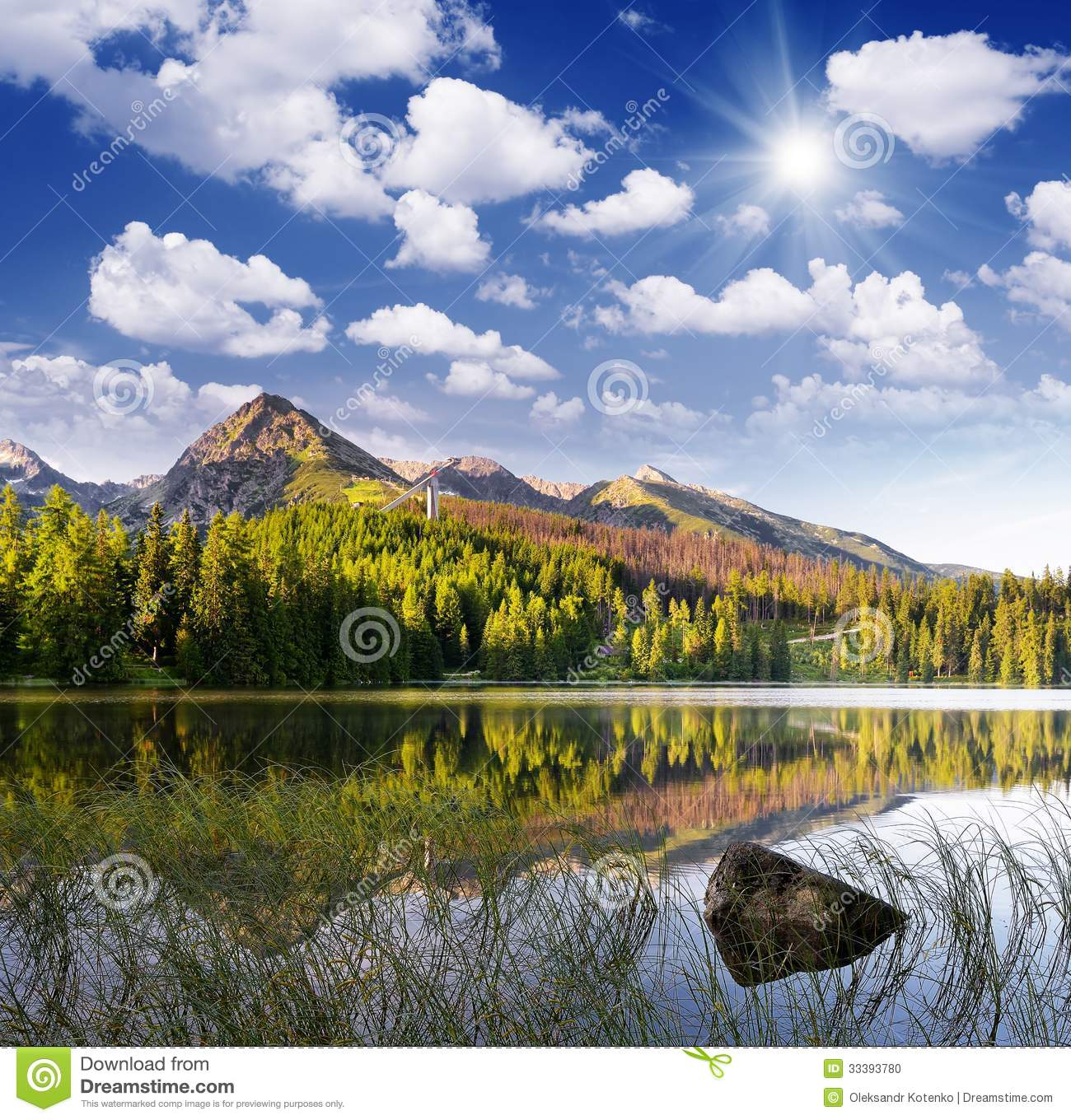 Beautiful Lake House Homes: Beautiful Lake In The Mountains Stock Photo
