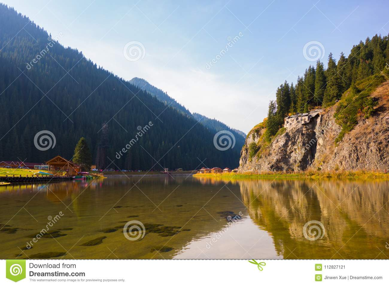 Lake, reflection, mountain, forest