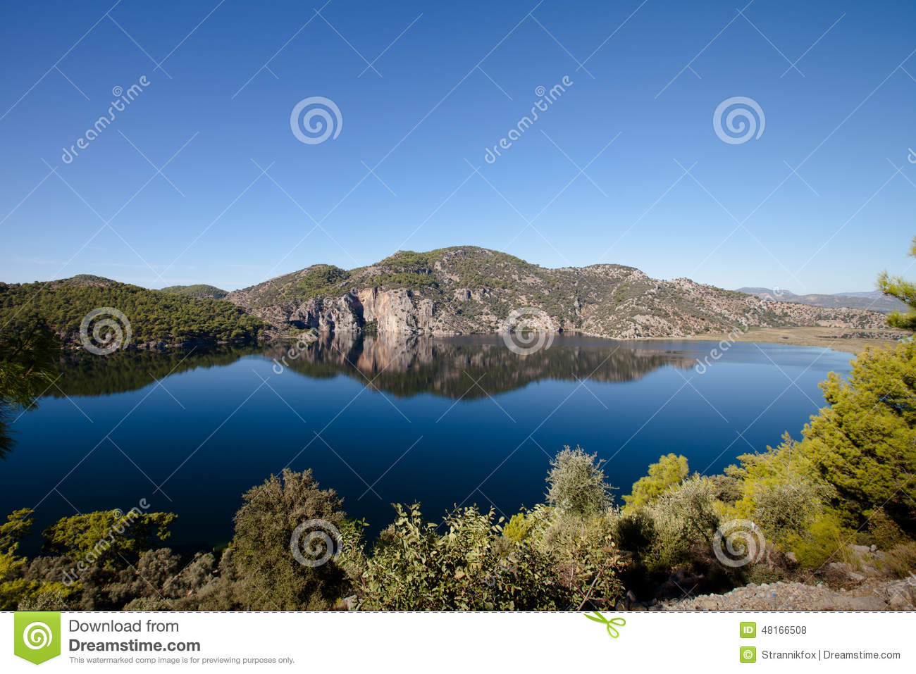 Beautiful Lake Surrounded By Mountains Stock Photo - Image: 48166508