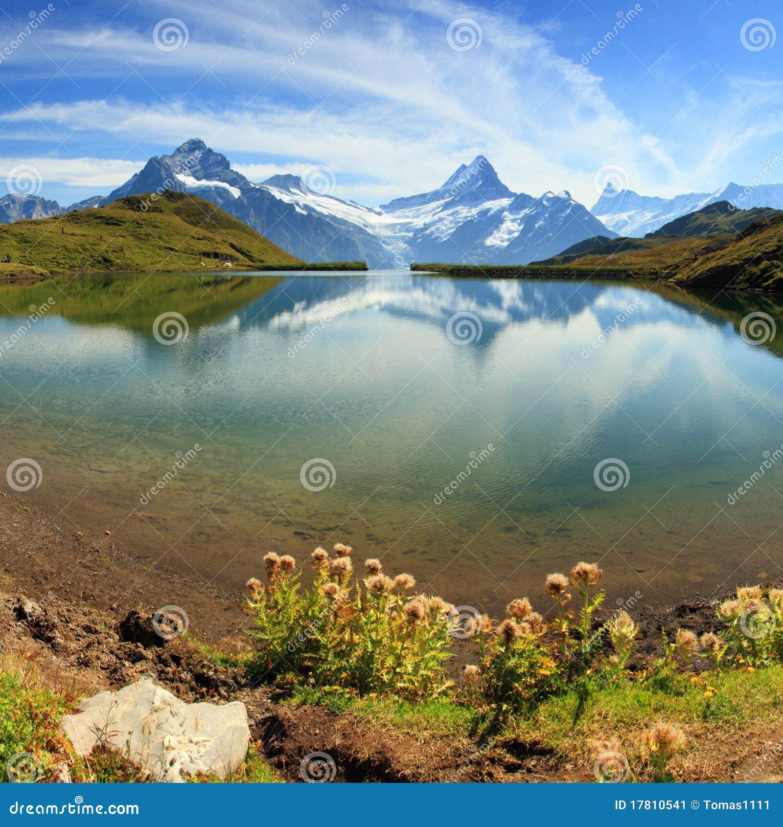 Beautiful Lake House Homes: Beautiful Lake With Swiss Mountain Reflection Royalty-Free