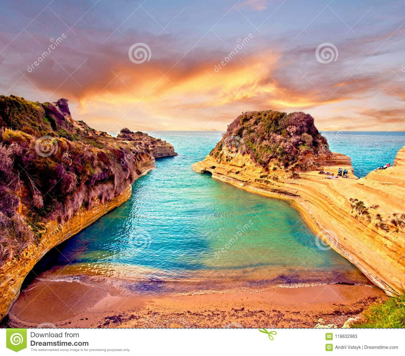 Beautiful landscape with cliffs popular Canal of Love Canal d`Amour on the island of Corfu, Greece at sunrise. tourist attractio