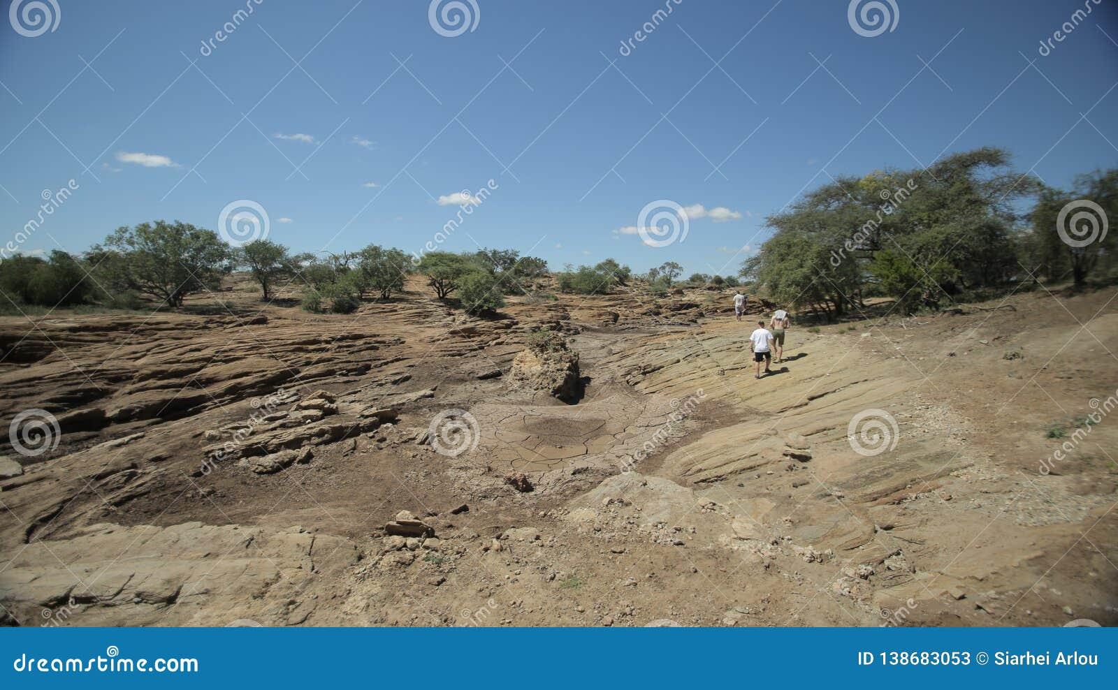 Beautiful Landscape Of A Desert In Africa, Kenya  Man