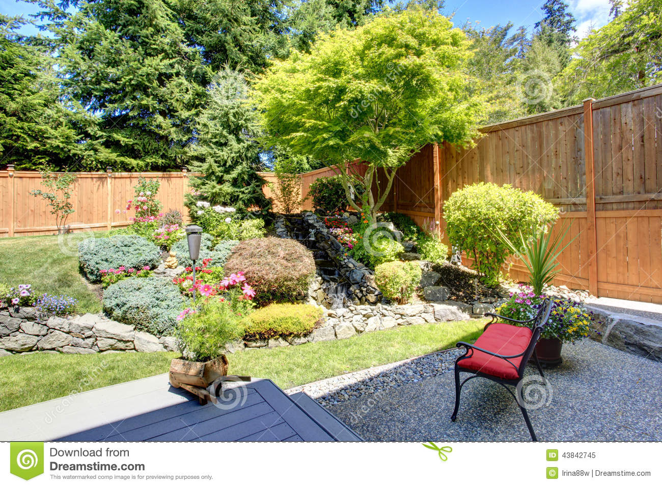 Beautiful landscape design for backyard garden stock photo for Beautiful landscape design
