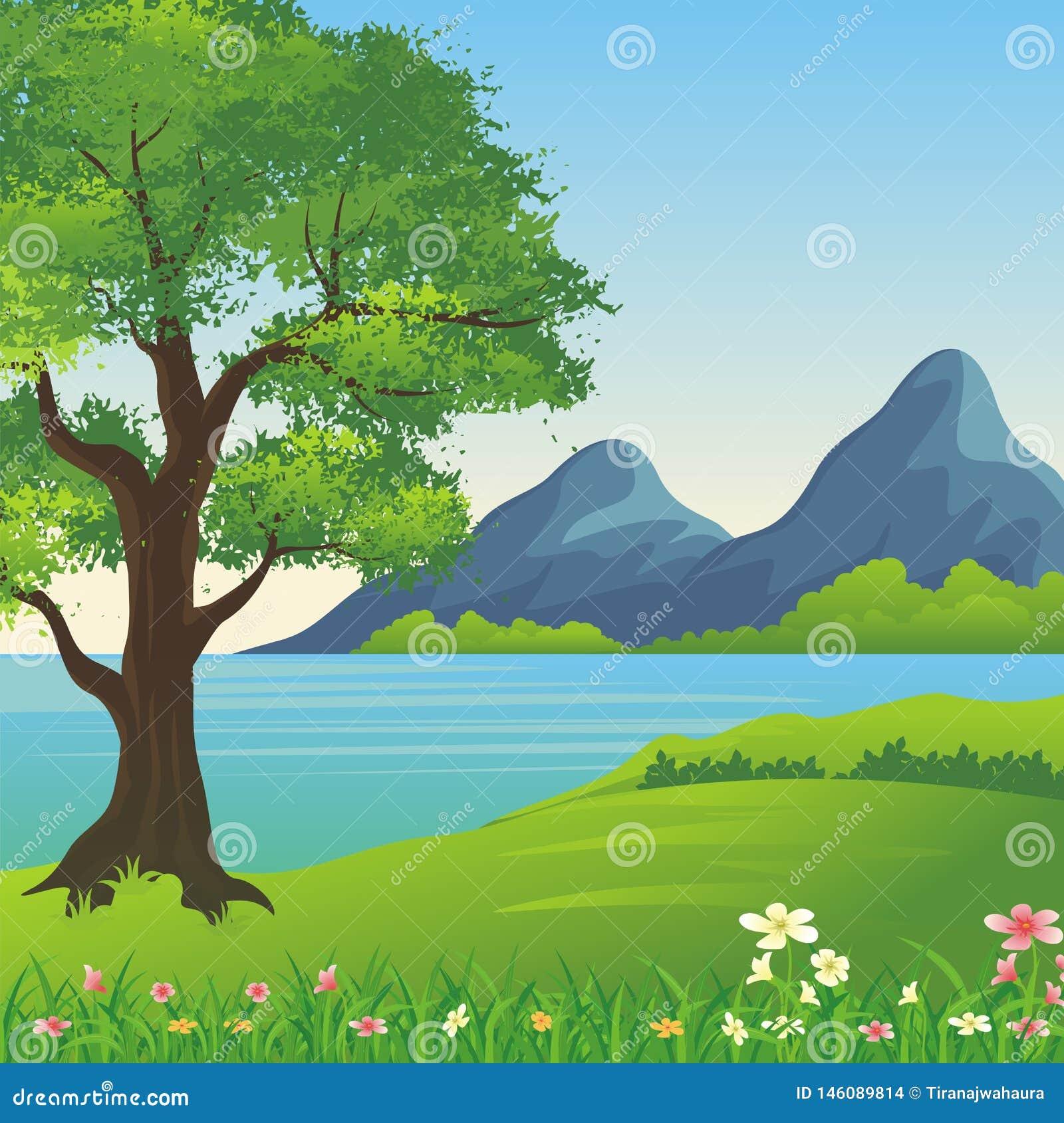 Beautiful landscape, Lovely and cute scenery cartoon design.