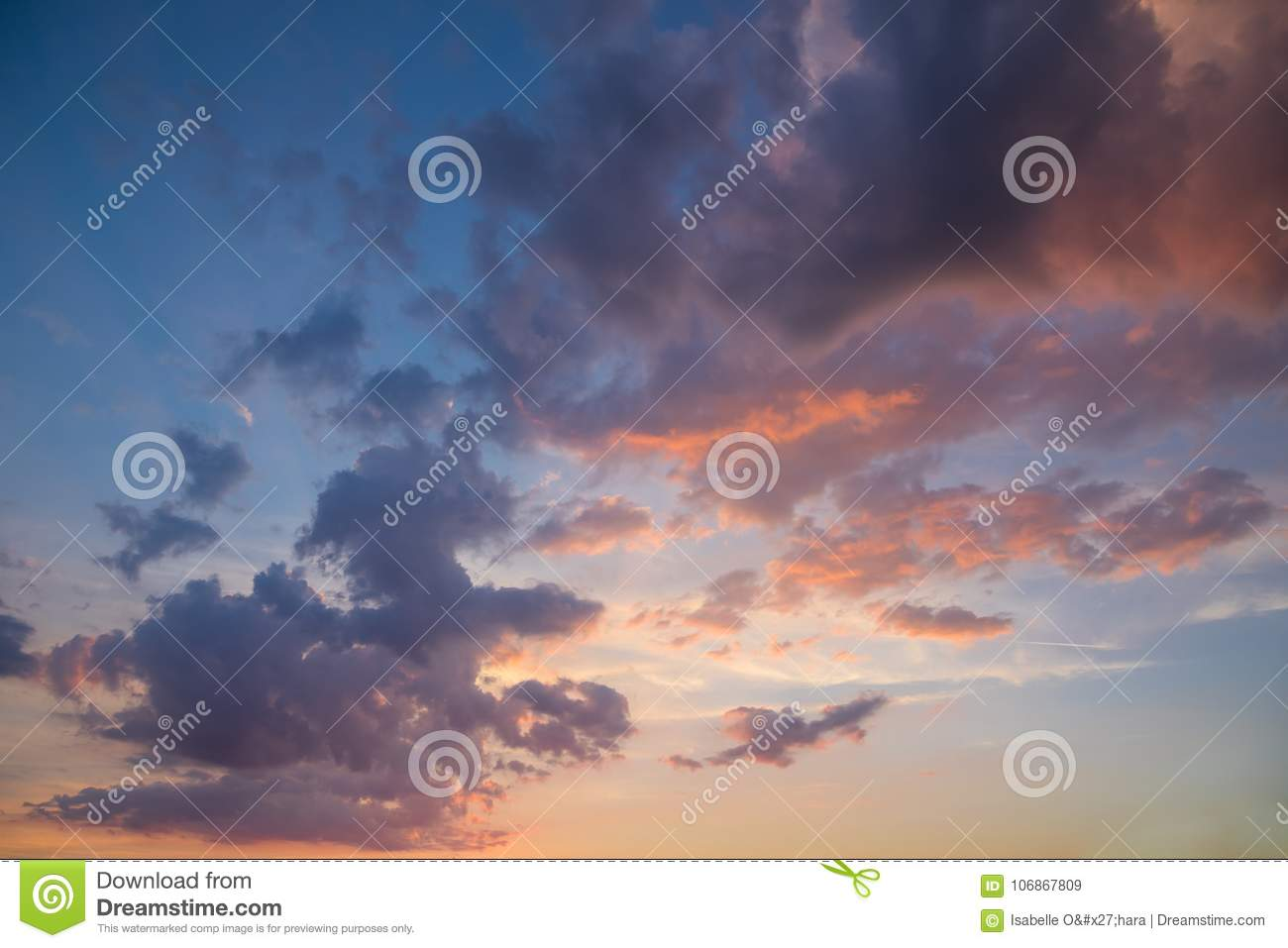 Beautiful Landscape of Pink, Purple and Yellow Clouds in Blue and Yellow Sky at Sunset