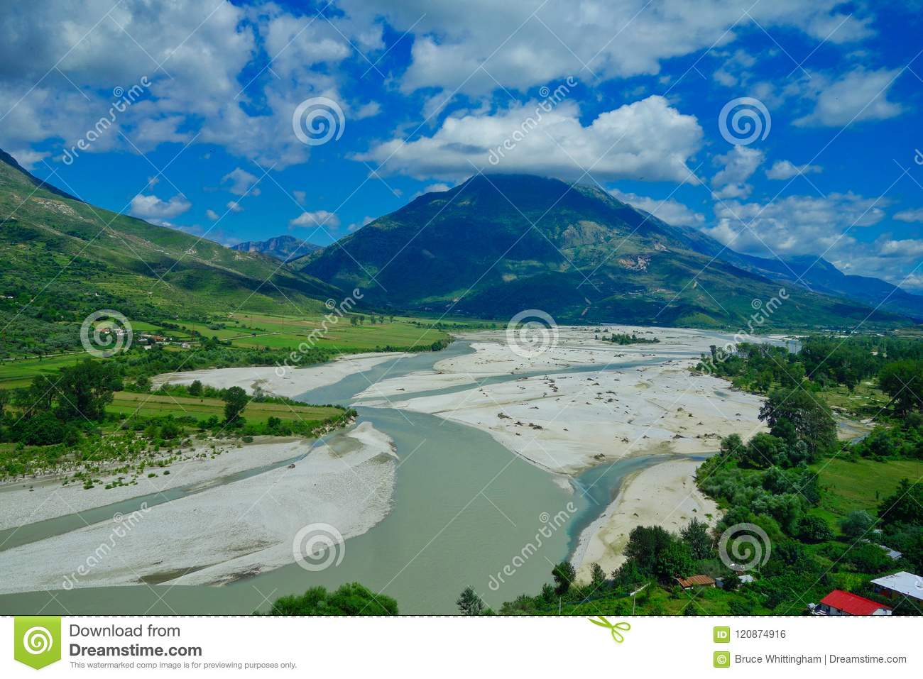Albania landscape; Mountains, River and Forest