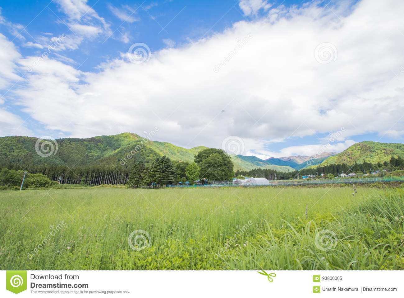 Beautiful landscape of Takayama mura at sunny summer or spring day and blue sky in Kamitakai District in northeast Nagano
