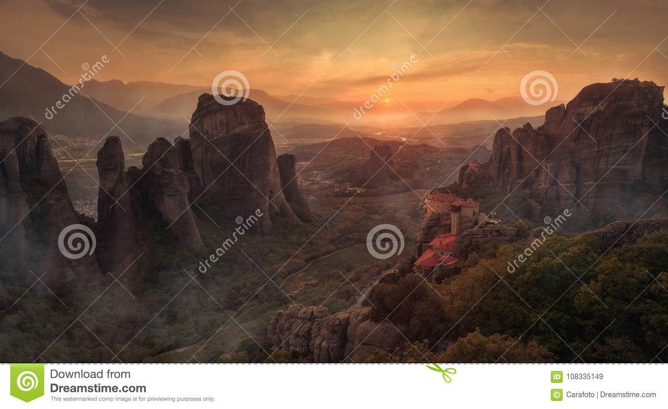 Beautiful landscape with unique rocks and monastery on it