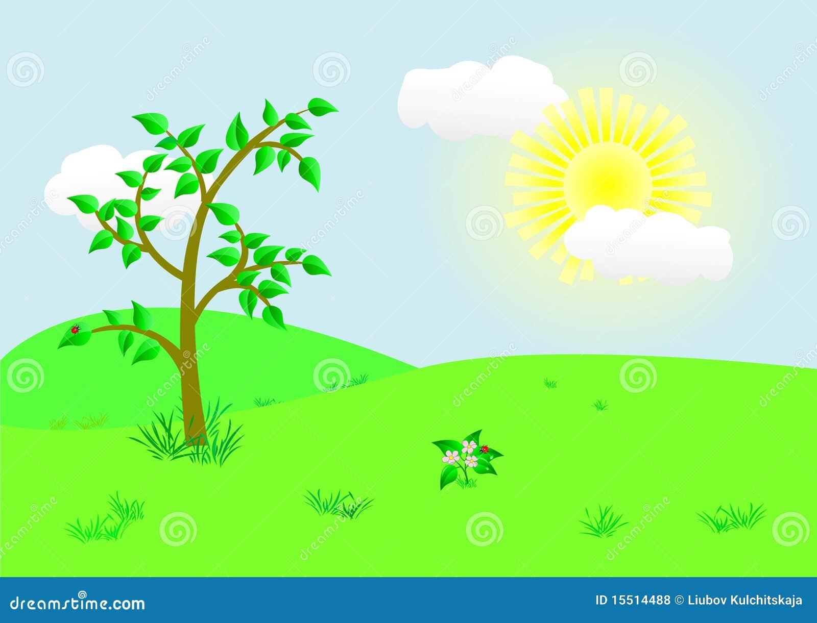 Landscape Illustration Vector Free: Beautiful Landscape. Vector Illustration. Royalty Free