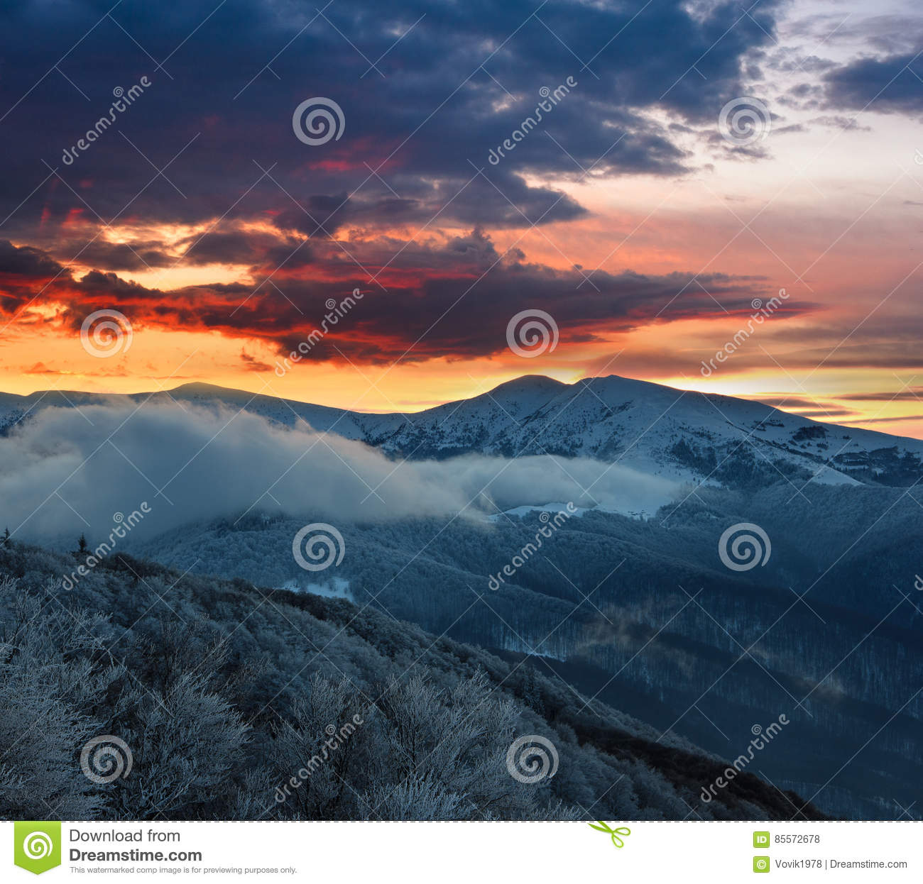 Beautiful landscape in the winter mountains at sunrise.