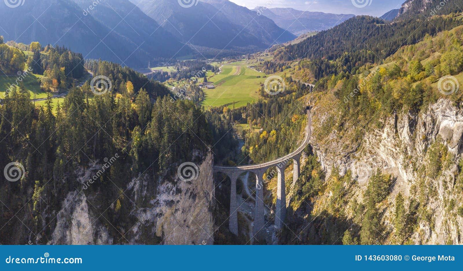 Beautiful Landwasser Viaduct in Switzerland aerial view