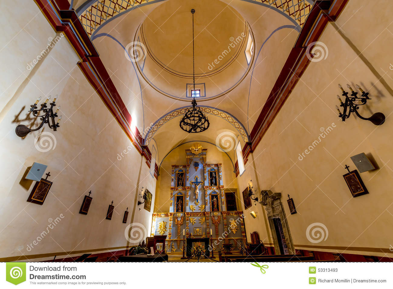The Beautiful Larger Chapel of the Historic Old West Spanish Mission San Jose