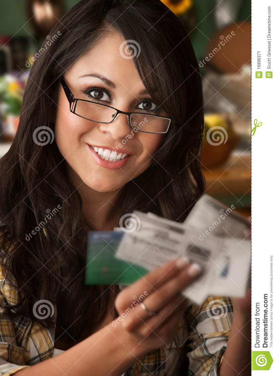 Beautiful Latina Woman With Coupons Stock Image Image