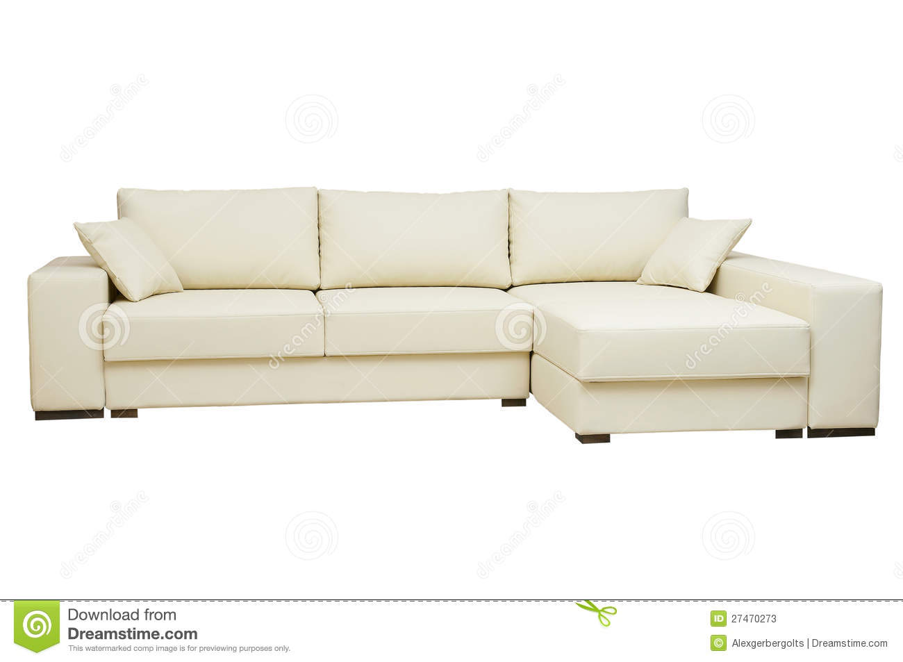 Beautiful Leather Sofa Beige Color On A White Stock Image