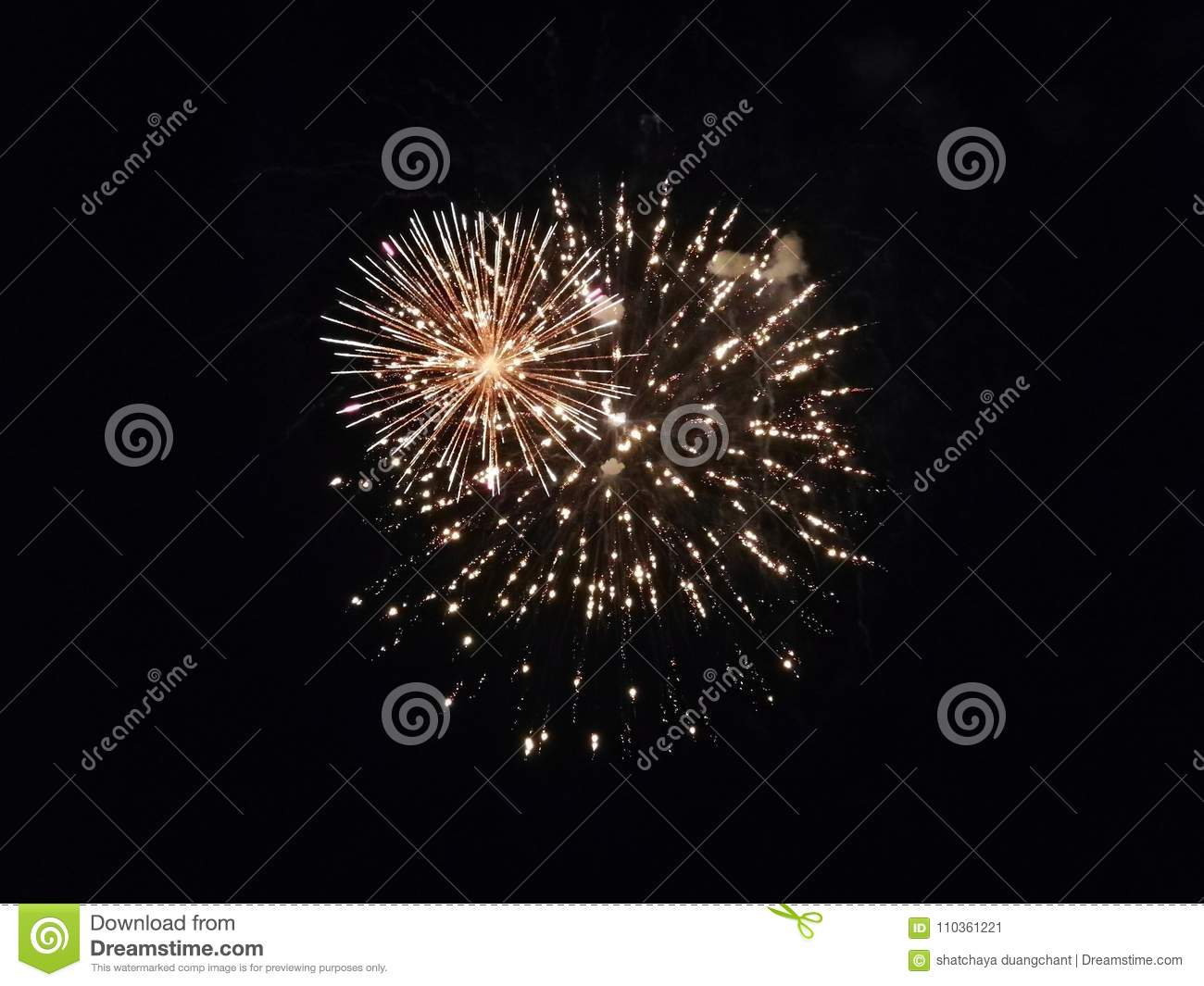 A Beautiful Light From FIRECRACKER In Dark Sky Stock Image - Image
