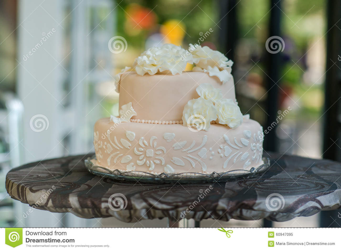 Beautiful Light Pink And Tasty Wedding Cake Stock