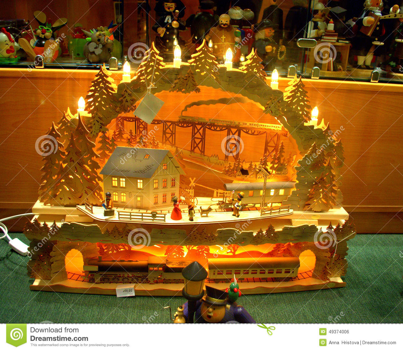 traditional lighted handmade german christmas decoration candle wooden arch train ride in the mountainin souvenir shopdresdengermany - German Handmade Wooden Christmas Decorations