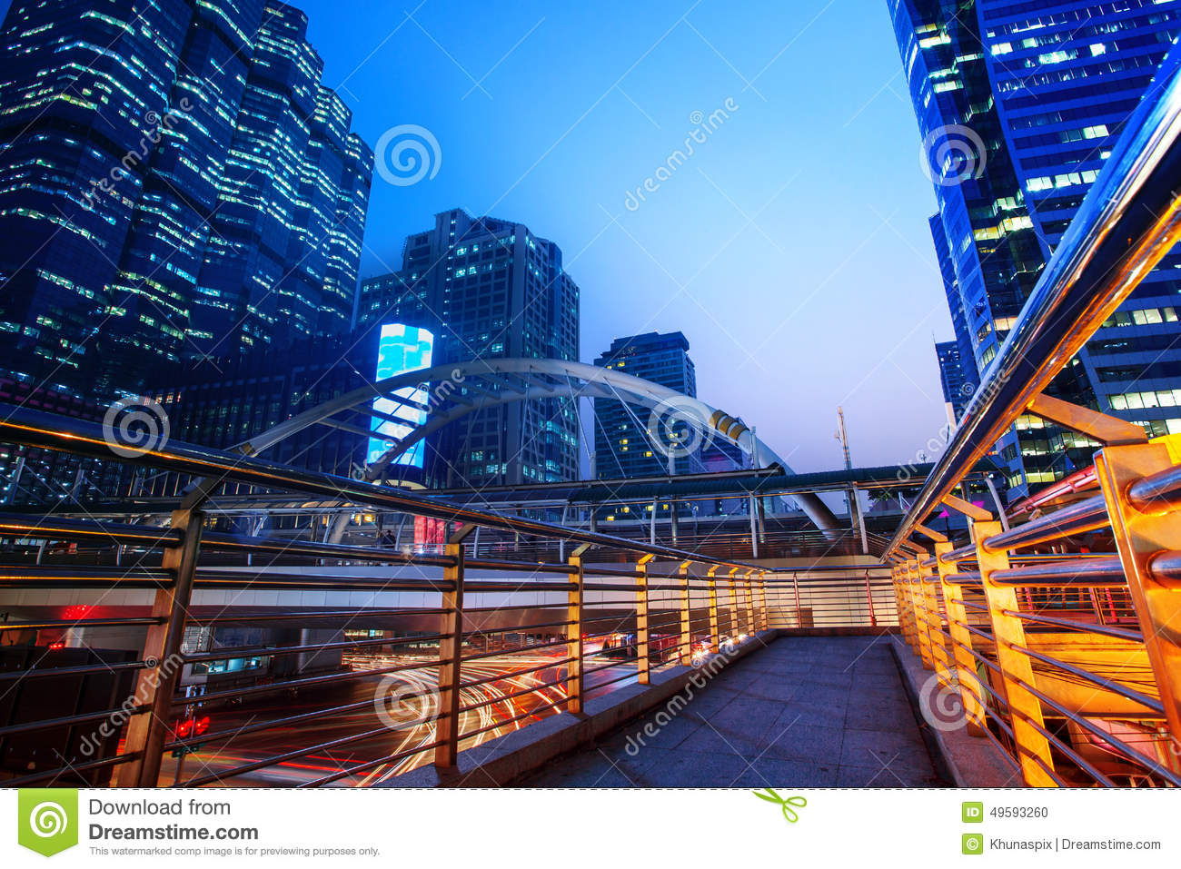 Beautiful Lighting City Scape Of Skyline Office Building In Hear