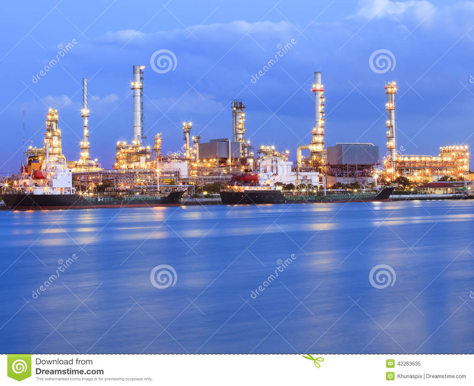 Beautiful Lighting Of Oil Refinery Industry Plant Beside